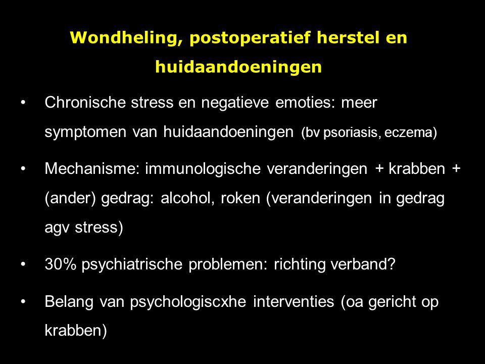 Wondheling, postoperatief herstel en huidaandoeningen Chronische stress en negatieve emoties: meer symptomen van huidaandoeningen (bv psoriasis, eczem