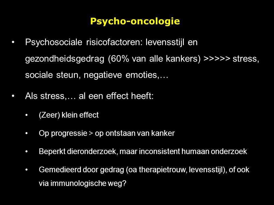 Psycho-oncologie Psychosociale risicofactoren: levensstijl en gezondheidsgedrag (60% van alle kankers) >>>>> stress, sociale steun, negatieve emoties,