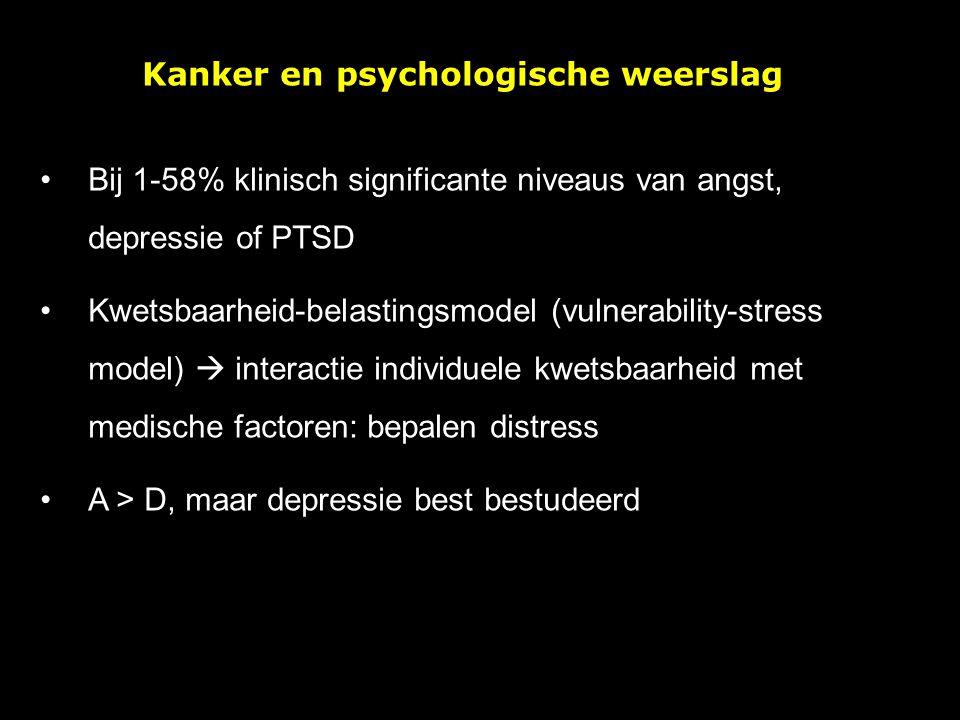 Bij 1-58% klinisch significante niveaus van angst, depressie of PTSD Kwetsbaarheid-belastingsmodel (vulnerability-stress model)  interactie individue