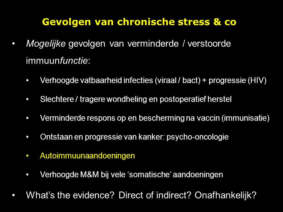 Gevolgen van chronische stress & co Mogelijke gevolgen van verminderde / verstoorde immuunfunctie: Verhoogde vatbaarheid infecties (viraal / bact) + p
