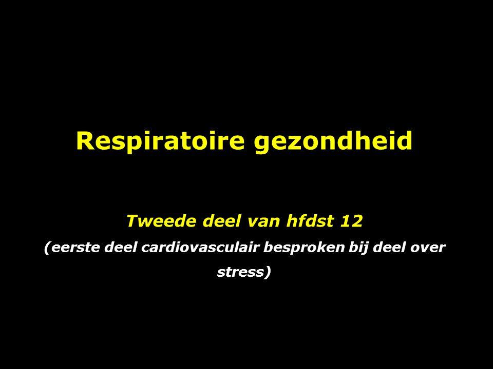 Respiratoire gezondheid Tweede deel van hfdst 12 (eerste deel cardiovasculair besproken bij deel over stress)