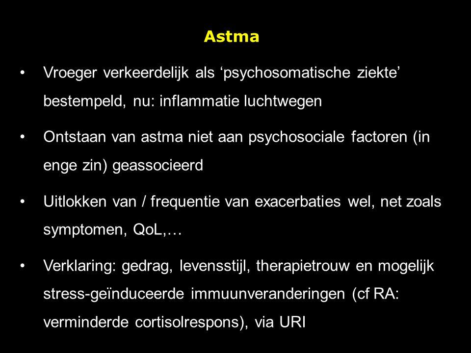 Astma Vroeger verkeerdelijk als 'psychosomatische ziekte' bestempeld, nu: inflammatie luchtwegen Ontstaan van astma niet aan psychosociale factoren (i