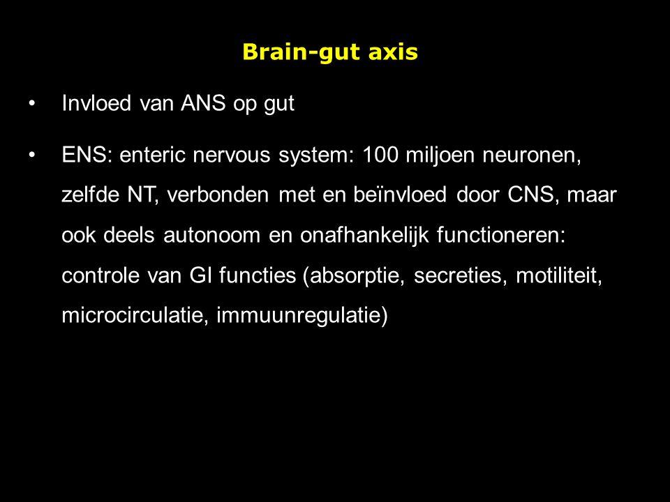 Brain-gut axis Invloed van ANS op gut ENS: enteric nervous system: 100 miljoen neuronen, zelfde NT, verbonden met en beïnvloed door CNS, maar ook deel