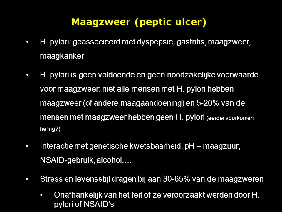 Maagzweer (peptic ulcer) H. pylori: geassocieerd met dyspepsie, gastritis, maagzweer, maagkanker H. pylori is geen voldoende en geen noodzakelijke voo