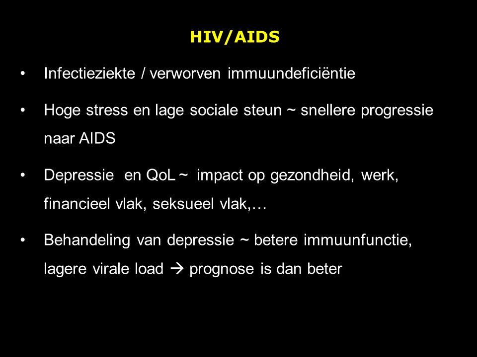 HIV/AIDS Infectieziekte / verworven immuundeficiëntie Hoge stress en lage sociale steun ~ snellere progressie naar AIDS Depressie en QoL ~ impact op g