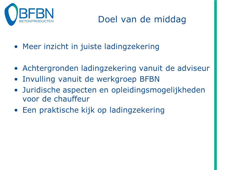 Doel van de middag Meer inzicht in juiste ladingzekering Achtergronden ladingzekering vanuit de adviseur Invulling vanuit de werkgroep BFBN Juridische