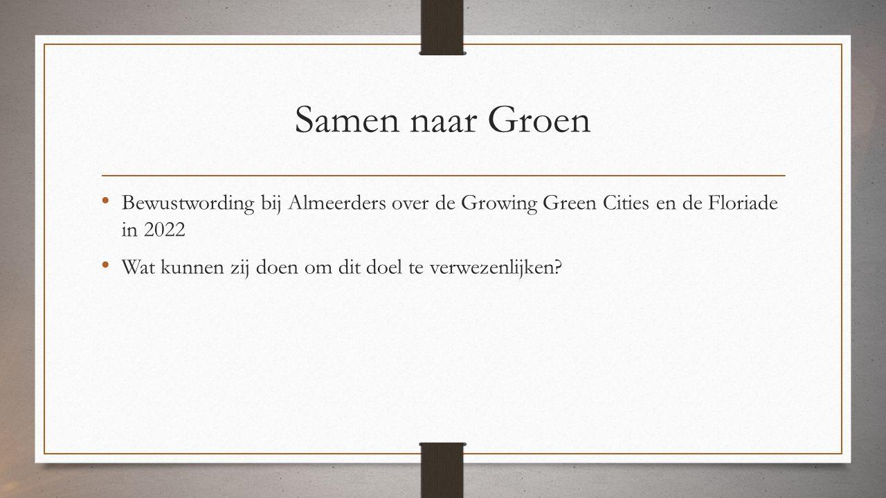 Samen naar Groen Bewustwording bij Almeerders over de Growing Green Cities en de Floriade in 2022 Wat kunnen zij doen om dit doel te verwezenlijken