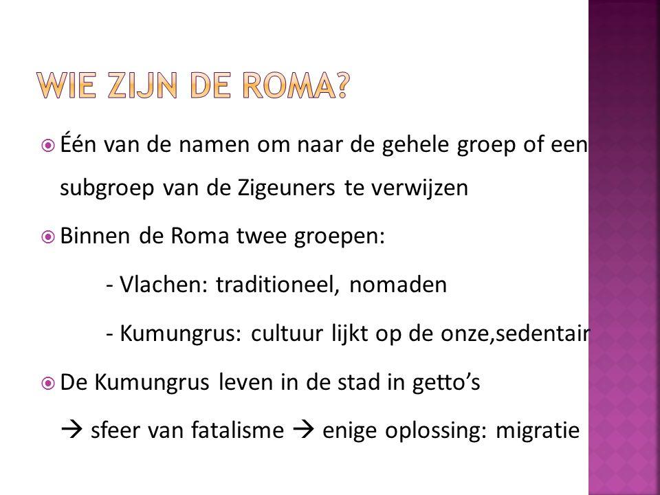  Één van de namen om naar de gehele groep of een subgroep van de Zigeuners te verwijzen  Binnen de Roma twee groepen: - Vlachen: traditioneel, nomad