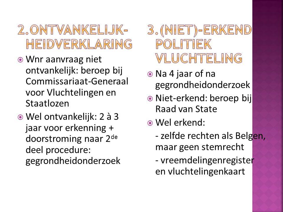  Kans voor asielzoekers of uitgeprocedeerden die al geruime tijd in België verblijven om toch erkend te worden  Ook voor bepaalde categorieën: ernstig zieken, niet-verwijderbaren  Zolang niet beslist tot repatriëring mogen de illegalen blijven  Wel recht op werk via vergunningssysteem