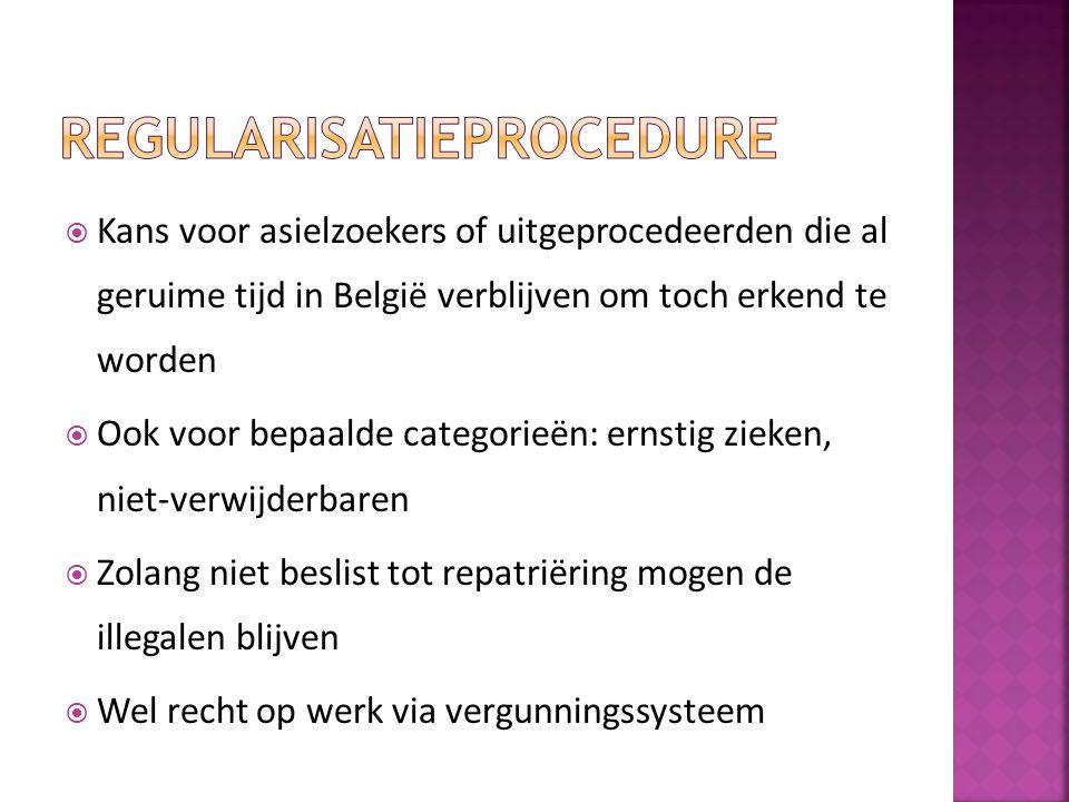  Kans voor asielzoekers of uitgeprocedeerden die al geruime tijd in België verblijven om toch erkend te worden  Ook voor bepaalde categorieën: ernst