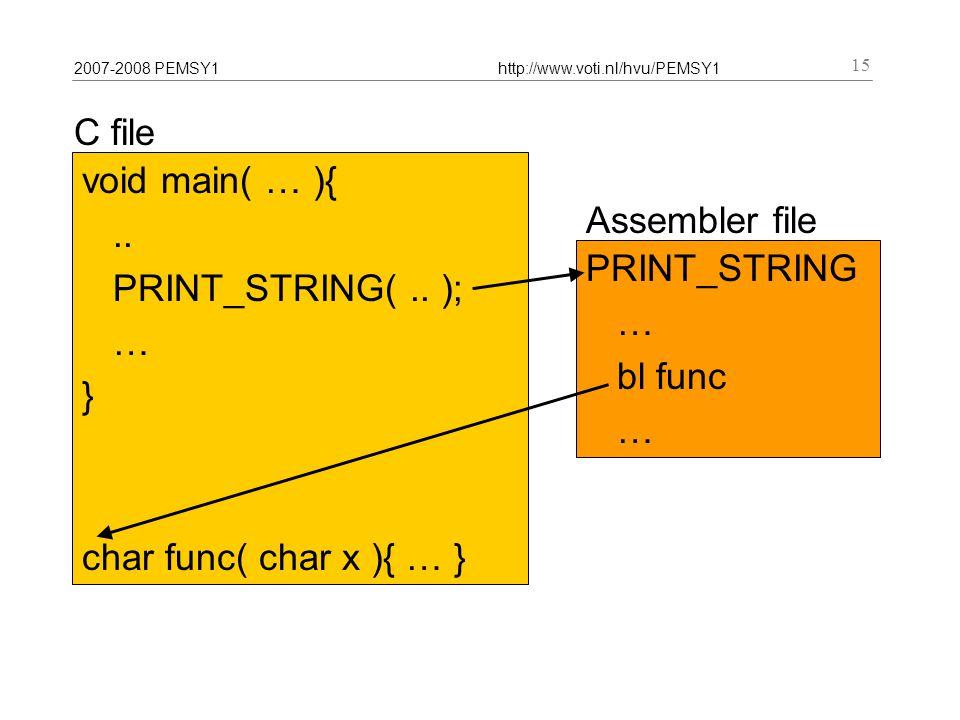 2007-2008 PEMSY1http://www.voti.nl/hvu/PEMSY1 15 Assembler file C file void main( … ){..