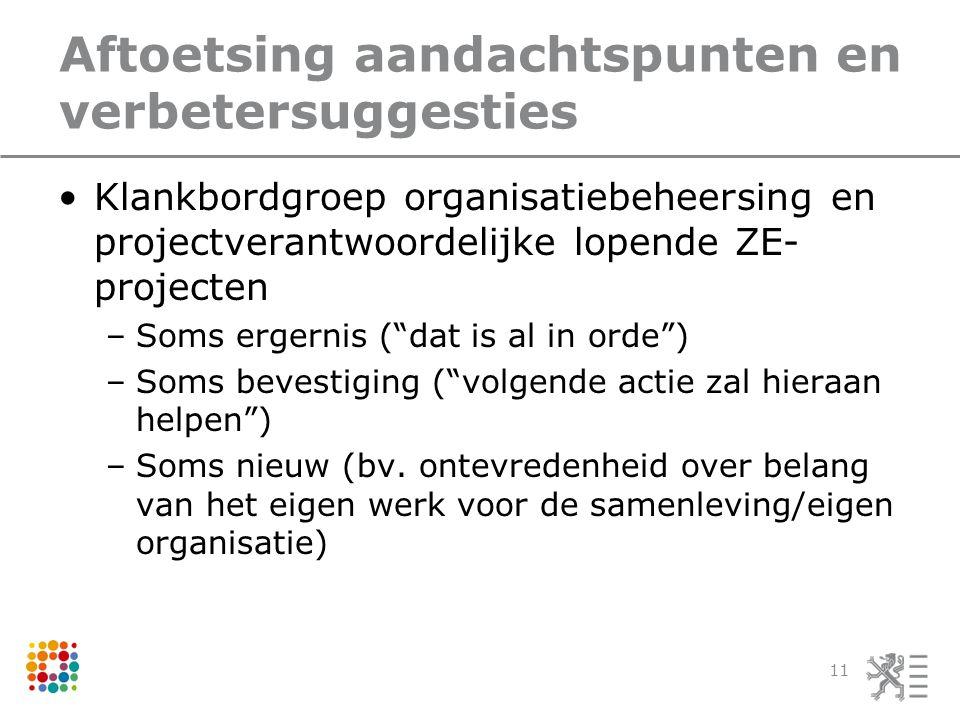 Aftoetsing aandachtspunten en verbetersuggesties Klankbordgroep organisatiebeheersing en projectverantwoordelijke lopende ZE- projecten –Soms ergernis