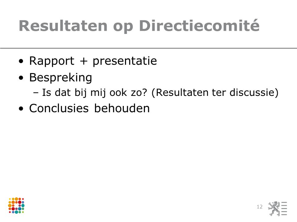Resultaten op Directiecomité Rapport + presentatie Bespreking –Is dat bij mij ook zo? (Resultaten ter discussie) Conclusies behouden 12