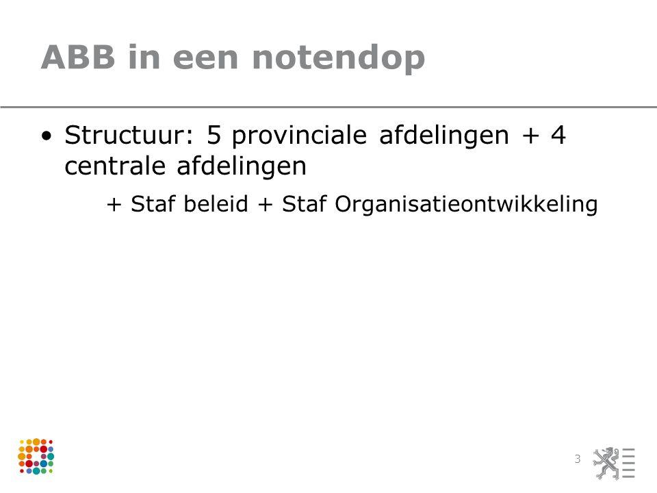 ABB in een notendop Structuur: 5 provinciale afdelingen + 4 centrale afdelingen + Staf beleid + Staf Organisatieontwikkeling 3