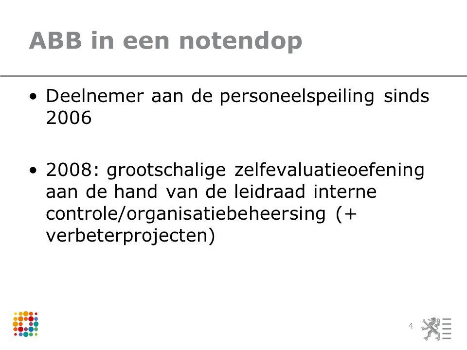 ABB in een notendop Deelnemer aan de personeelspeiling sinds 2006 2008: grootschalige zelfevaluatieoefening aan de hand van de leidraad interne contro