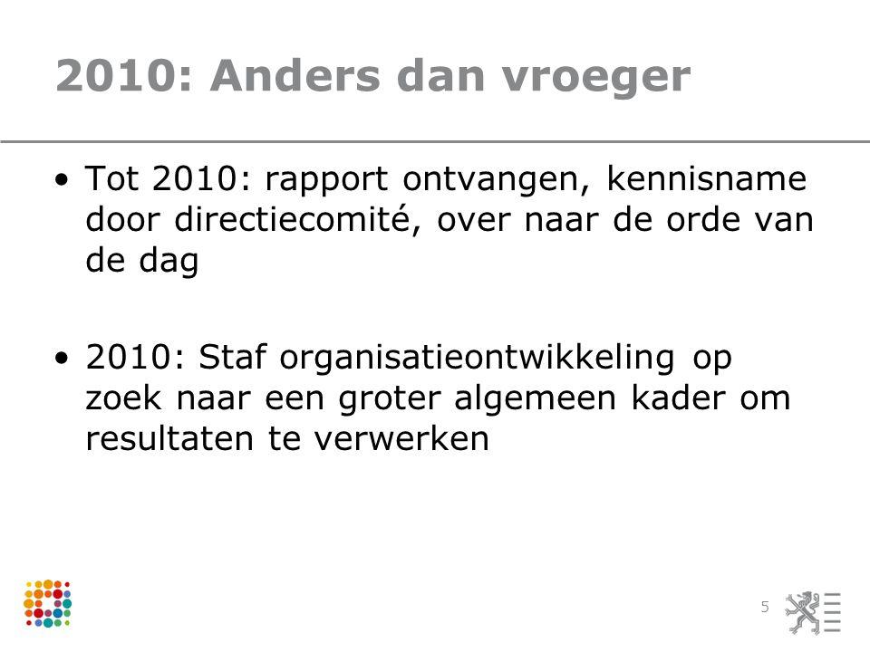 2010: Anders dan vroeger Tot 2010: rapport ontvangen, kennisname door directiecomité, over naar de orde van de dag 2010: Staf organisatieontwikkeling