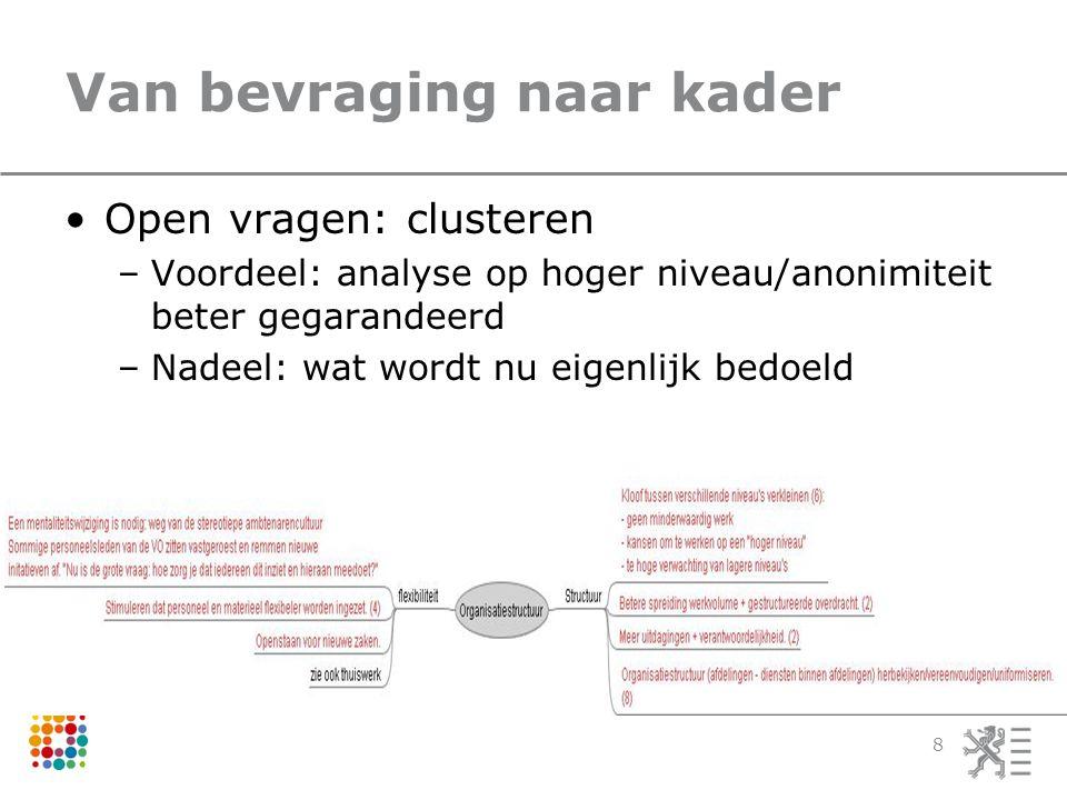 Van bevraging naar kader Open vragen: clusteren –Voordeel: analyse op hoger niveau/anonimiteit beter gegarandeerd –Nadeel: wat wordt nu eigenlijk bedo