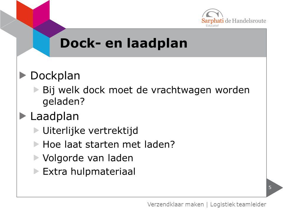Dockplan Bij welk dock moet de vrachtwagen worden geladen? Laadplan Uiterlijke vertrektijd Hoe laat starten met laden? Volgorde van laden Extra hulpma