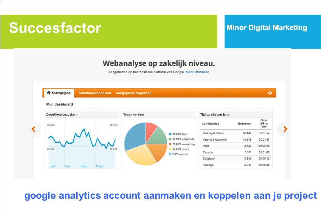 Succesfactor Minor Digital Marketing google analytics account aanmaken en koppelen aan je project