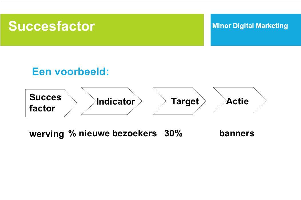 Succesfactor Succes factor Indicator TargetActie werving % nieuwe bezoekers30%banners Minor Digital Marketing Een voorbeeld: