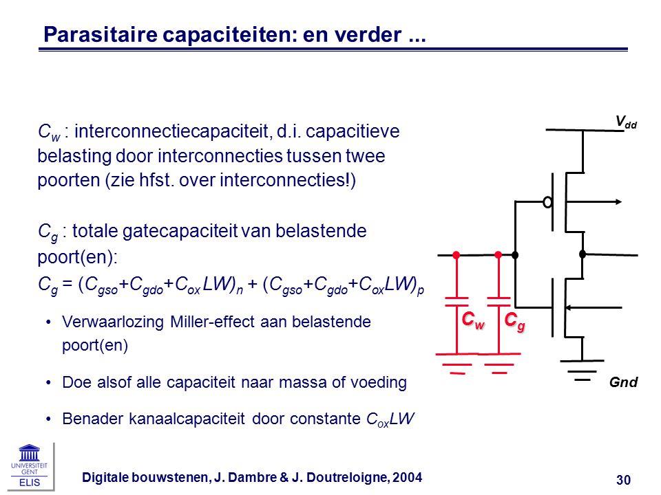 Digitale bouwstenen, J. Dambre & J. Doutreloigne, 2004 30 Parasitaire capaciteiten: en verder...