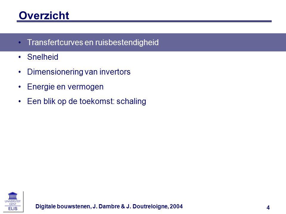 Digitale bouwstenen, J.Dambre & J. Doutreloigne, 2004 15 Schakelspanning i.f.v.