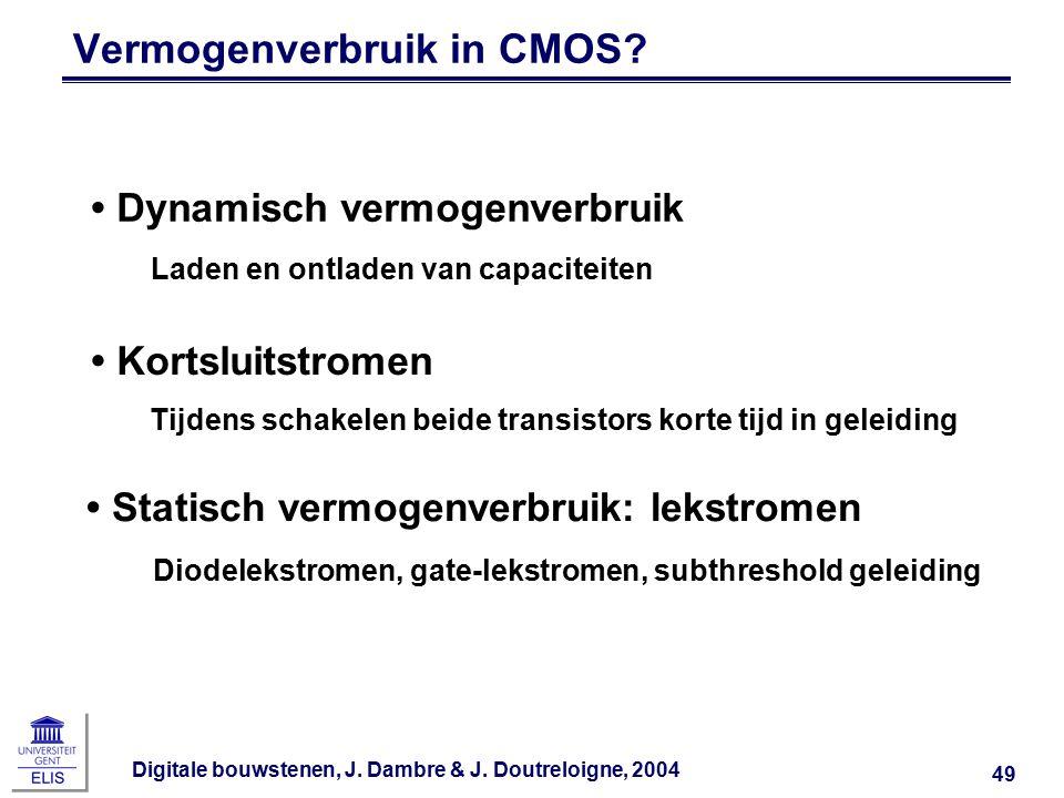 Digitale bouwstenen, J. Dambre & J. Doutreloigne, 2004 49 Vermogenverbruik in CMOS.