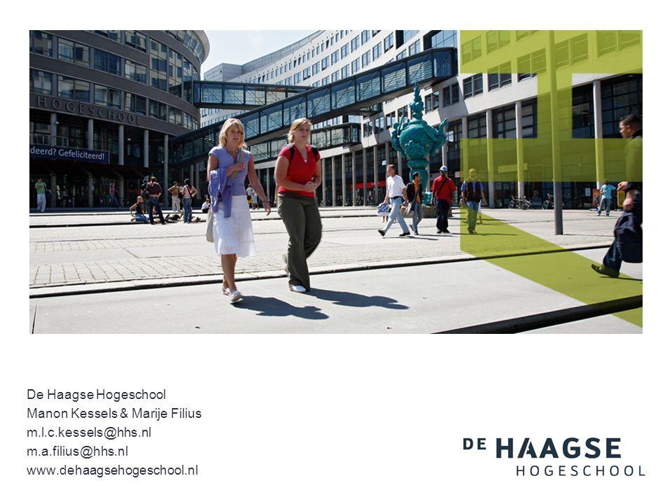 De Haagse Hogeschool Manon Kessels & Marije Filius m.l.c.kessels@hhs.nl m.a.filius@hhs.nl www.dehaagsehogeschool.nl