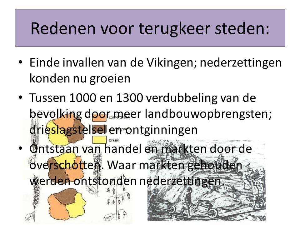 Redenen voor terugkeer steden: Einde invallen van de Vikingen; nederzettingen konden nu groeien Tussen 1000 en 1300 verdubbeling van de bevolking door