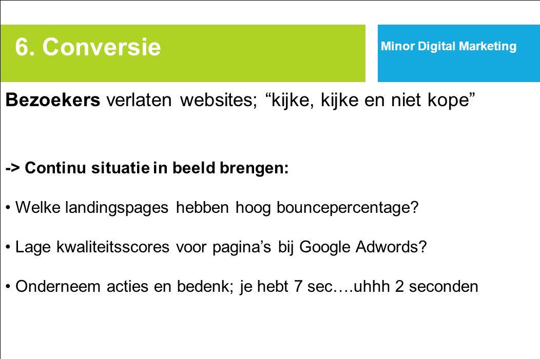 """6. Conversie Minor Digital Marketing Bezoekers verlaten websites; """"kijke, kijke en niet kope"""" -> Continu situatie in beeld brengen: Welke landingspage"""