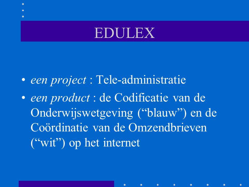 EDULEX een project : Tele-administratie een product : de Codificatie van de Onderwijswetgeving ( blauw ) en de Coördinatie van de Omzendbrieven ( wit ) op het internet