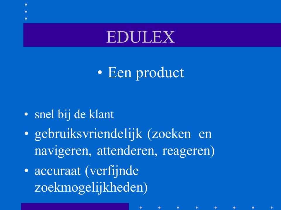EDULEX Een product snel bij de klant gebruiksvriendelijk (zoeken en navigeren, attenderen, reageren) accuraat (verfijnde zoekmogelijkheden)