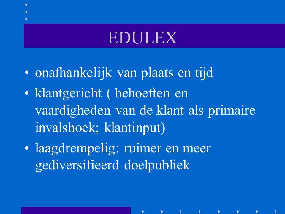 EDULEX onafhankelijk van plaats en tijd klantgericht ( behoeften en vaardigheden van de klant als primaire invalshoek; klantinput) laagdrempelig: ruimer en meer gediversifieerd doelpubliek