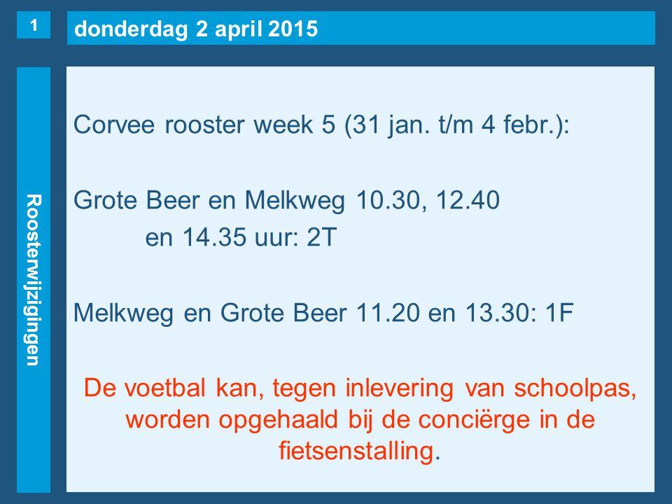 donderdag 2 april 2015 Roosterwijzigingen Corvee rooster week 5 (31 jan. t/m 4 febr.): Grote Beer en Melkweg 10.30, 12.40 en 14.35 uur: 2T Melkweg en