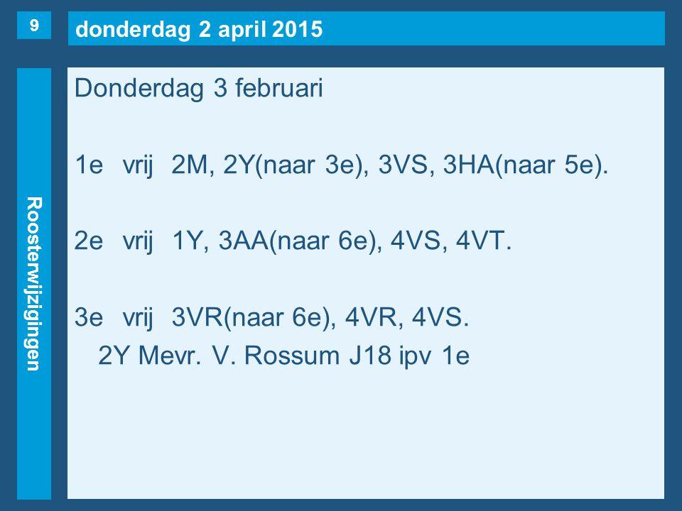 donderdag 2 april 2015 Roosterwijzigingen Donderdag 3 februari 1evrij2M, 2Y(naar 3e), 3VS, 3HA(naar 5e). 2evrij1Y, 3AA(naar 6e), 4VS, 4VT. 3evrij3VR(n