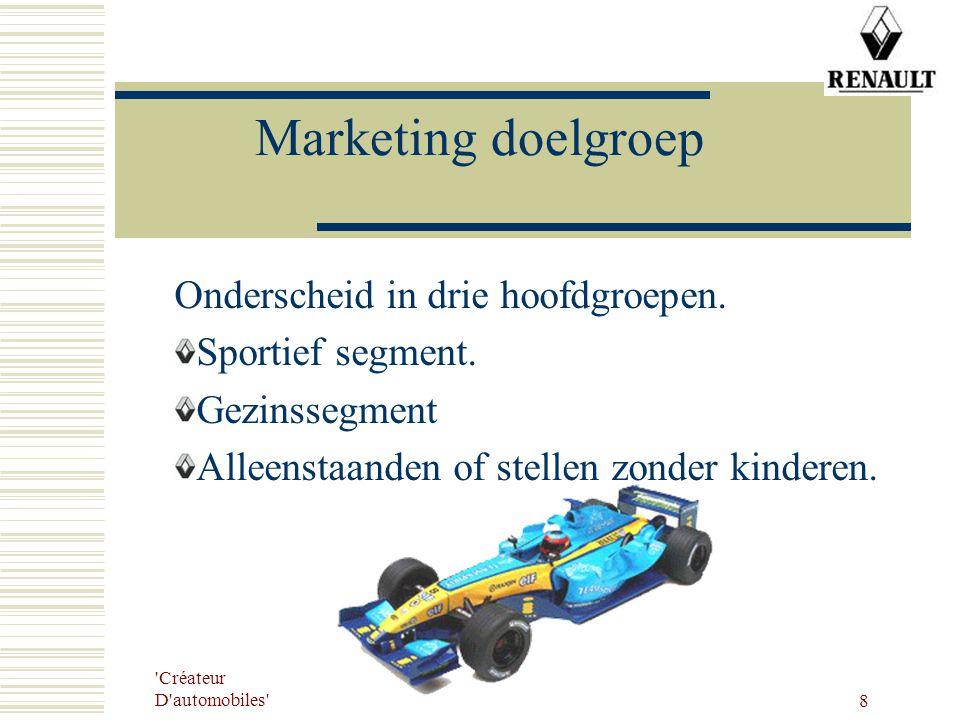 Créateur D automobiles 8 Marketing doelgroep Onderscheid in drie hoofdgroepen.