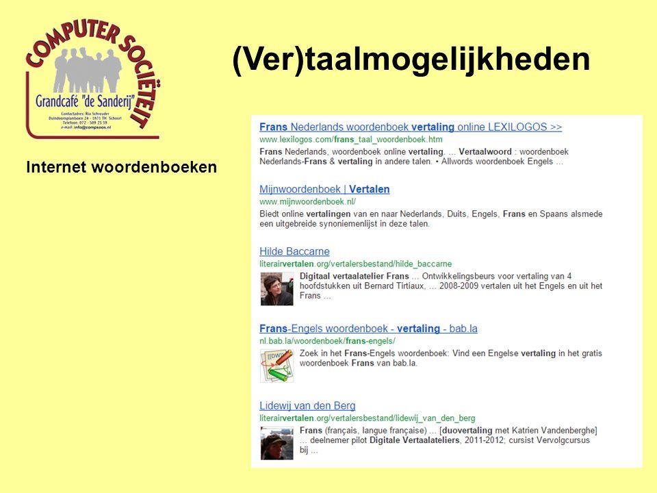 (Ver)taalmogelijkheden Internet woordenboeken