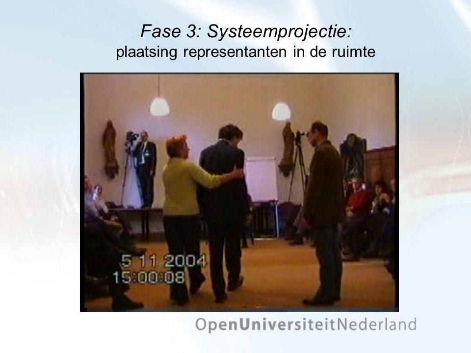 Fase 3: Systeemprojectie: plaatsing representanten in de ruimte
