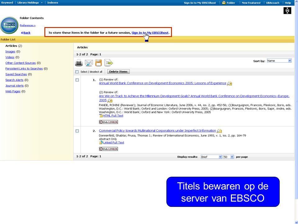 Titels bewaren op de server van EBSCO
