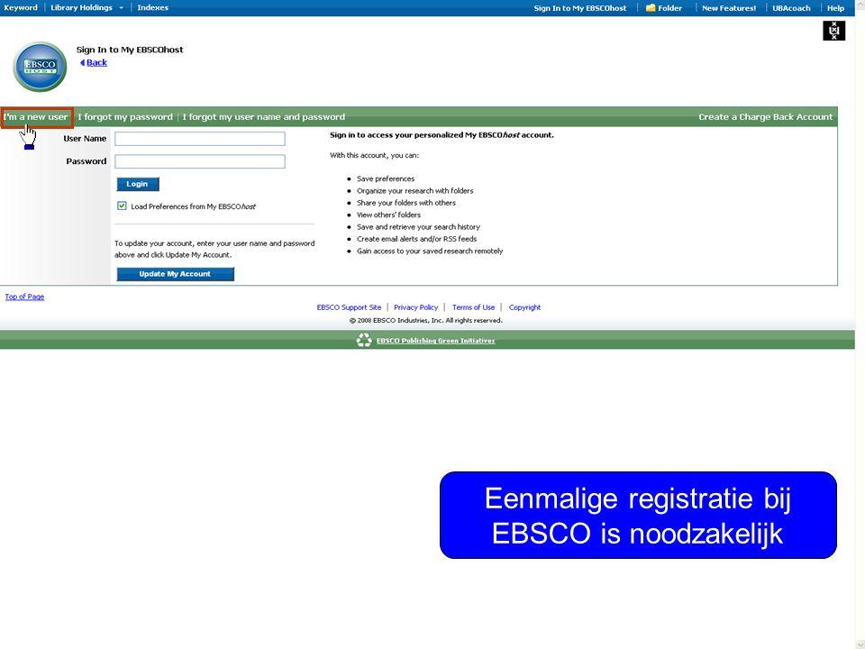 Eenmalige registratie bij EBSCO is noodzakelijk