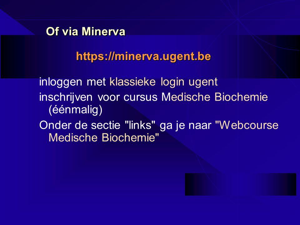 Of via Minerva https://minerva.ugent.be inloggen met klassieke login ugent inschrijven voor cursus Medische Biochemie (éénmalig) Onder de sectie