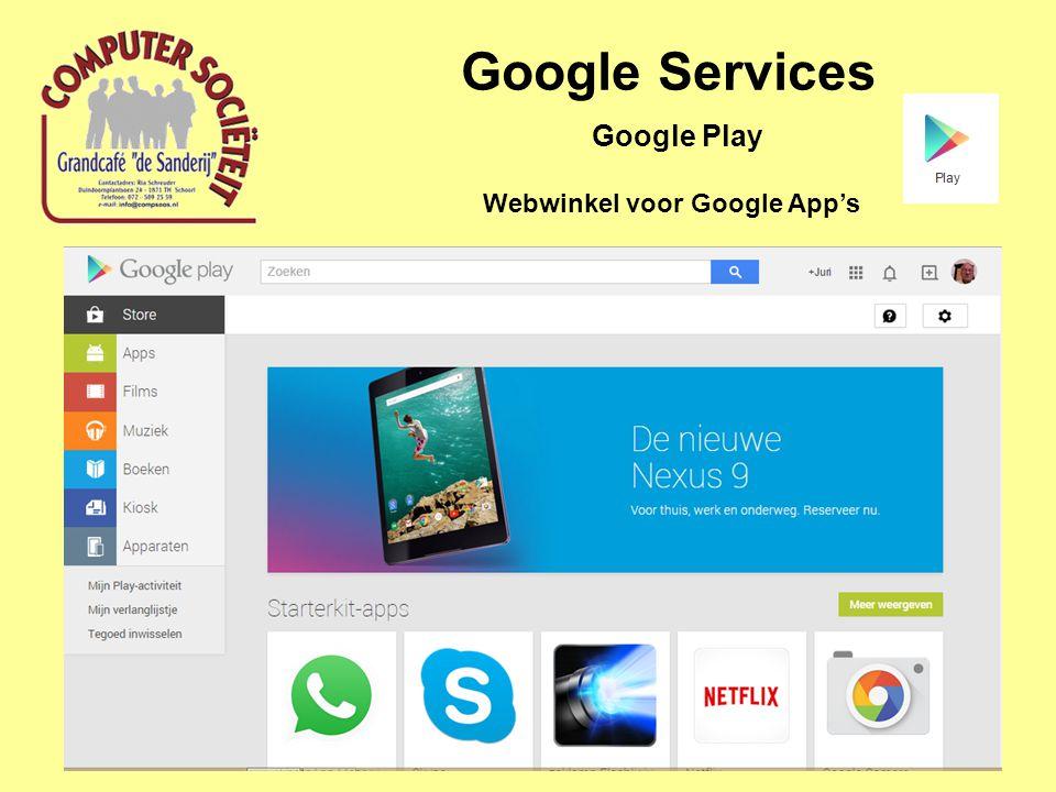 Google Services Google Play Webwinkel voor Google App's