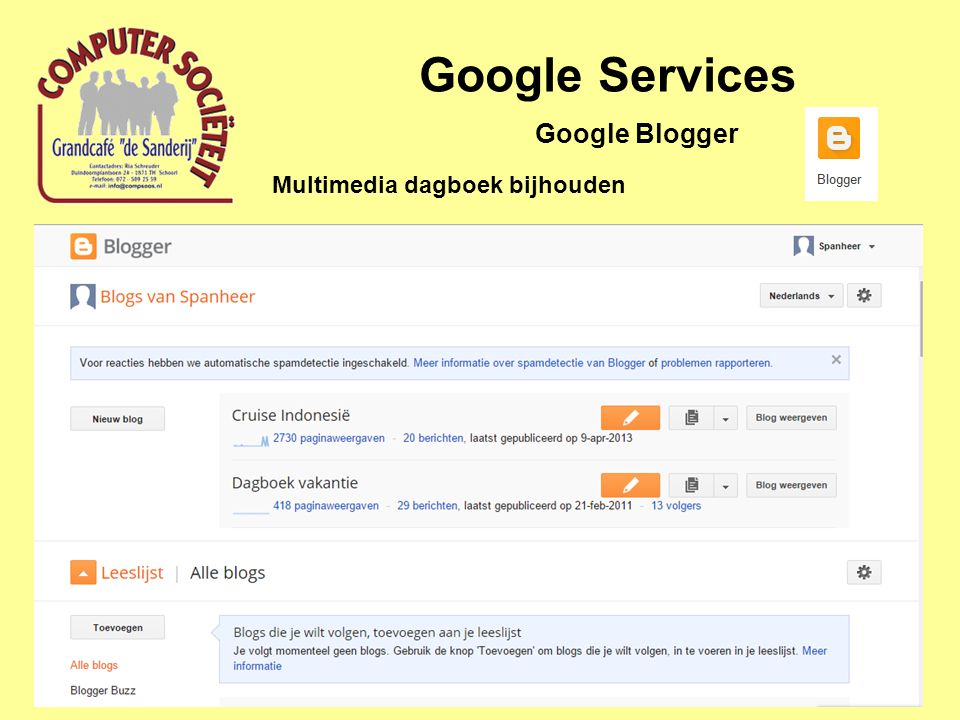 Google Services Multimedia dagboek bijhouden Google Blogger