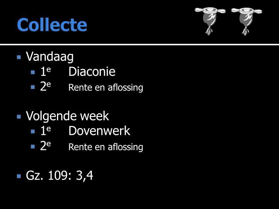  Vandaag  1 e Diaconie  2 e Rente en aflossing  Volgende week  1 e Dovenwerk  2 e Rente en aflossing  Gz.
