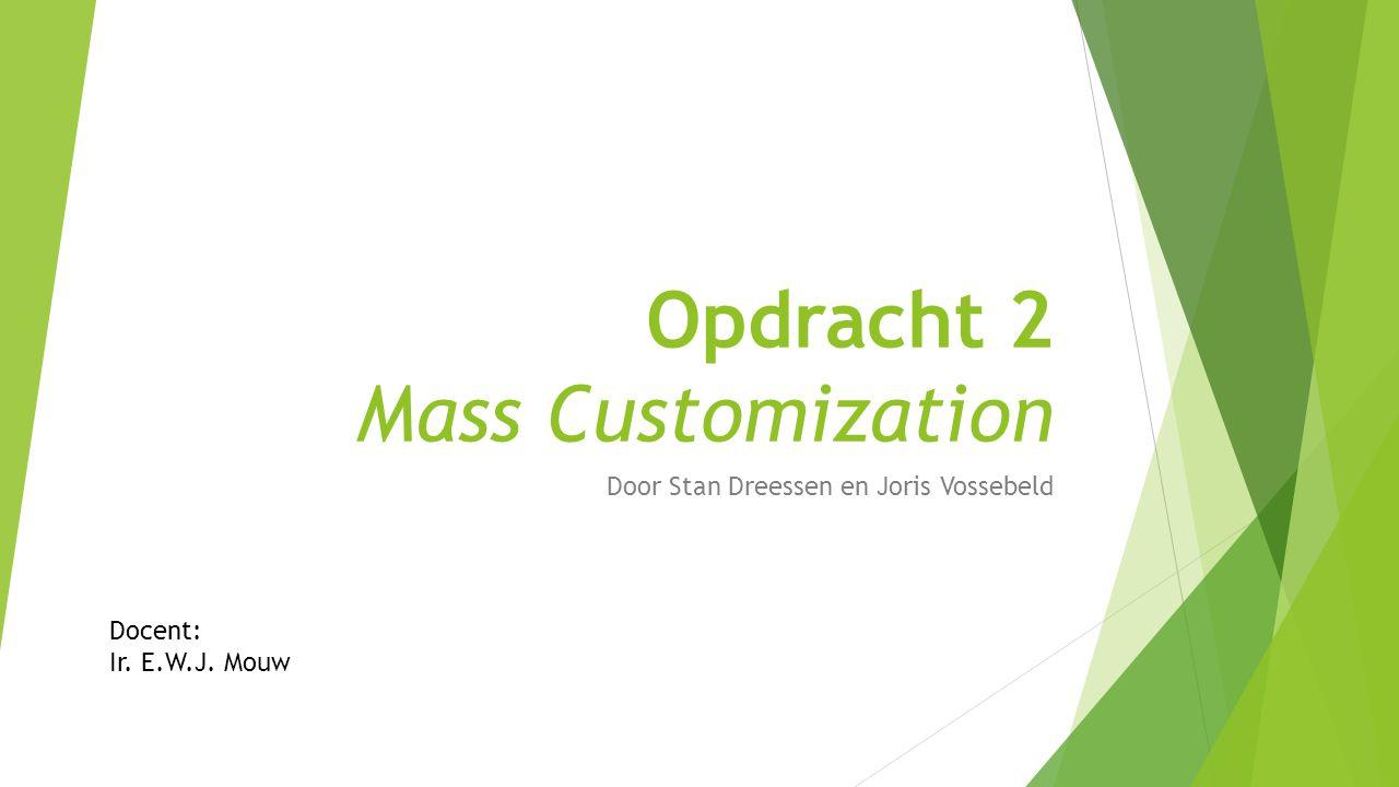 Opdracht 2 Mass Customization Door Stan Dreessen en Joris Vossebeld Docent: Ir. E.W.J. Mouw