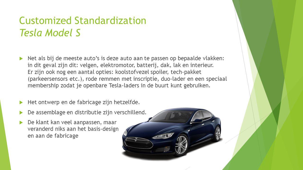 Customized Standardization Tesla Model S  Net als bij de meeste auto's is deze auto aan te passen op bepaalde vlakken: in dit geval zijn dit: velgen, elektromotor, batterij, dak, lak en interieur.