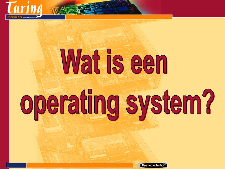 Besturingssysteem Vaak wordt de Engelse term gebruikt: Operating System ( OS ) Plaats van het OS in een computersysteem: Hardware Applicatie Operating System Laag tussen de hardware en de applicaties (programma's)