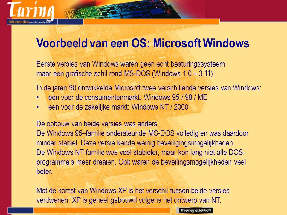 Voorbeeld van een OS: Microsoft Windows Eerste versies van Windows waren geen echt besturingssysteem maar een grafische schil rond MS-DOS (Windows 1.0 – 3.11) een voor de consumentenmarkt: Windows 95 / 98 / ME een voor de zakelijke markt: Windows NT / 2000 In de jaren 90 ontwikkelde Microsoft twee verschillende versies van Windows: De opbouw van beide versies was anders.