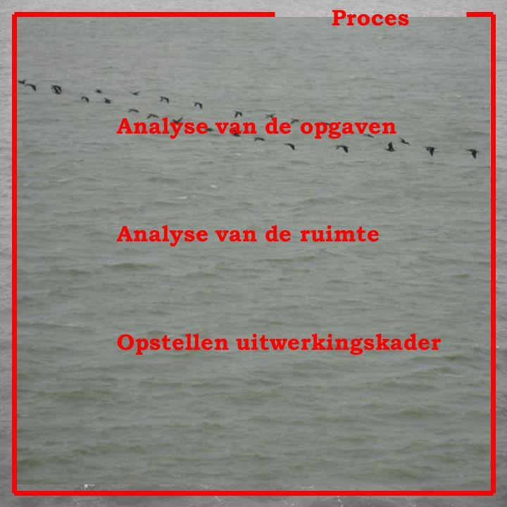 Proces Analyse van de opgaven Analyse van de ruimte Opstellen uitwerkingskader