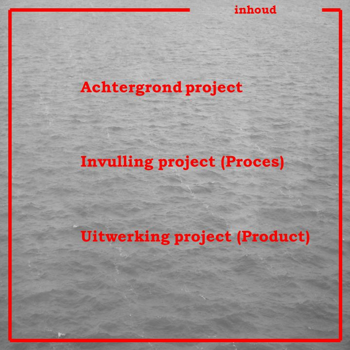 inhoud Achtergrond project Invulling project (Proces) Uitwerking project (Product)